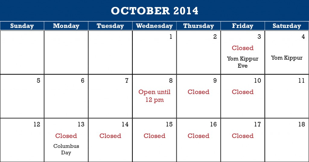 holiday schedule october 2014